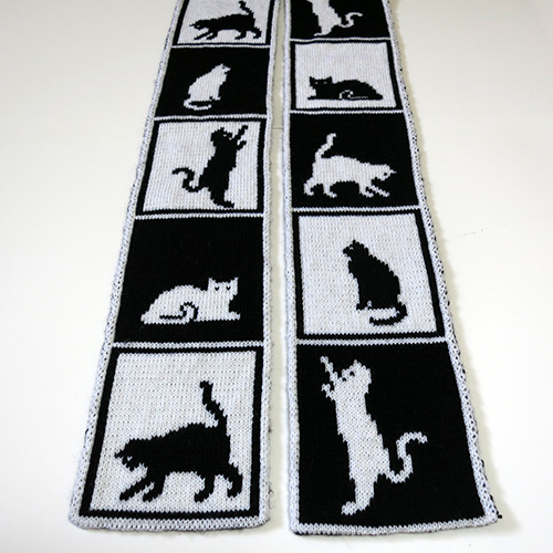 Cats in Boxes Scarf Pattern
